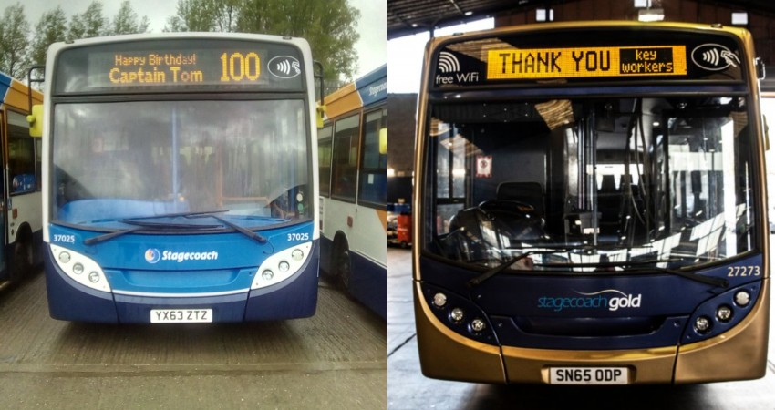 Stagecoach in South Wales celebrate Captain Thomas Moore's 100th birthday with a tribute to him, the NHS and key workers