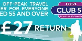 Arriva Club55 - Cheaper travel for the over 55s is back! Travel to 100s of destinations from only £27 return
