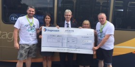 Stagecoach bus drivers participate in the Walk for Life to raise money for Kidney Wales